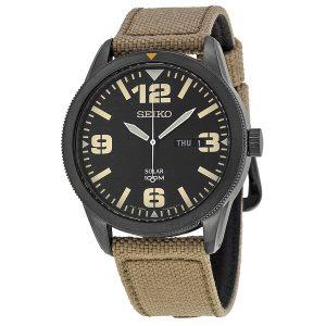 Đồng hồ Seiko nam Solar Black Dial Beige Nylon SNE331