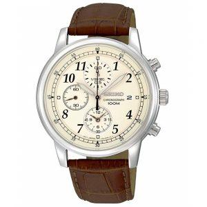 Đồng hồ Seiko nam Chronograph Beige Dial Burgandy Leather SNDC31