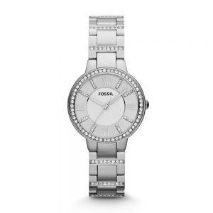 Đồng hồ đeo tay nữ bằng thép không gỉ Fossil Virginia Silver ES3282