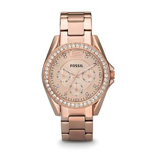 Đồng hồ đeo tay nữ mạ vàng Fossil Riley đa chức năng ES2811
