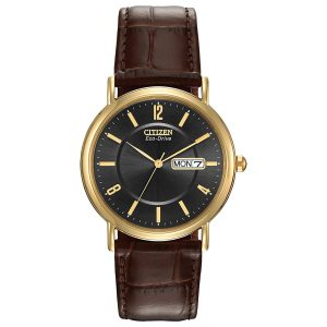 Đồng hồ Citizen nam Eco Drive Black Dial Brown Leather BM8242-08E