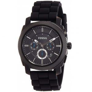 Đồng hồ nam Fossil Machine Chronograph Black Dial Black Silicone FS4487