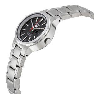 Đồng hồ đeo tay nữ Seiko 5 mặt số bằng thép không gỉ màu đen SYME43