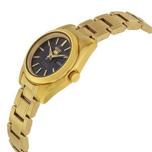 Đồng hồ đeo tay nữ Seiko 5 mặt số màu đen dây vàng SYMK22