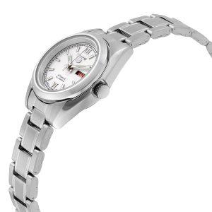 Đồng hồ nữ bằng thép không gỉ màu trắng Seiko 5 tự động SYMK23