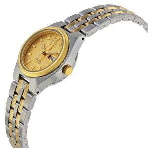 Đồng hồ đeo tay nữ Seiko 5 tự động quay số vàng hai tông màu SYMK34