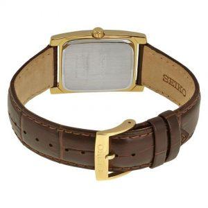 Đồng hồ đeo tay nam Seiko Solar Quartz Champagne da màu nâu SUP896
