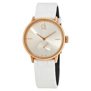 Đồng hồ nữ dây da màu trắng Calvin Klein Accent Silver Dial K2Y236K6
