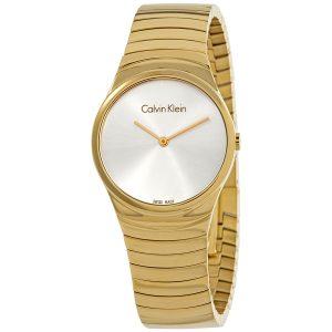 Đồng hồ nữ Calvin Klein Whirl Silver Dial Yellow Gold-tone K8A23546