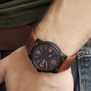 Đồng hồ Citizen nam Eco Drive mặt số đen dây da nâu BM8485-26E