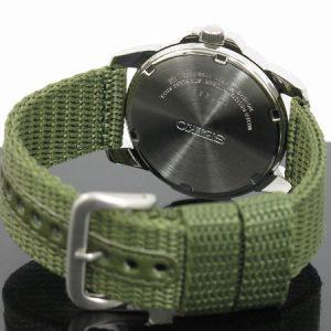 Đồng hồ nam Seiko Black Dial Green Nylon Solar Quartz SNE095P2