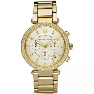 Đồng hồ nữ Michael Kors Crystal Chronograph Champagne Dial Gold MK5354