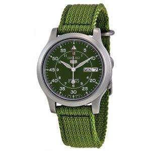 Đồng hồ Seiko nam 5 Green Dial Green Canvas SNK804