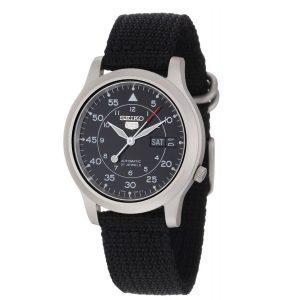 Đồng hồ nam Seiko 5 Black Dial Black Canvas Automatic SNK809
