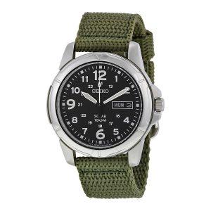 Đồng hồ Seiko nam Black Dial Green Nylon Solar Quartz SNE095P2