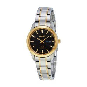 Đồng hồ đeo tay nữ Seiko Core Solar Black Dial hai tông màu SUT166