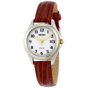 Đồng hồ Seiko nữ Core Solar White Dial Brown Leather SUT252