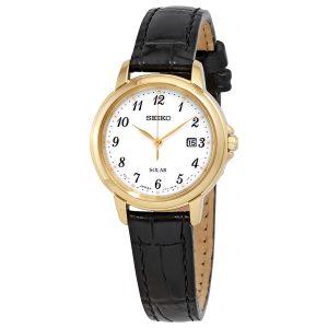 Đồng hồ đeo tay nữ bằng da Seiko Solar White Dial SUT376