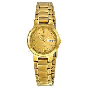 Đồng hồ đeo tay nữ bằng thép không gỉ mạ vàng Seiko 5 tự động SYME46