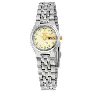 Đồng hồ đeo tay nữ bằng thép không gỉ mặt số tự động Seiko 5 SYMK41