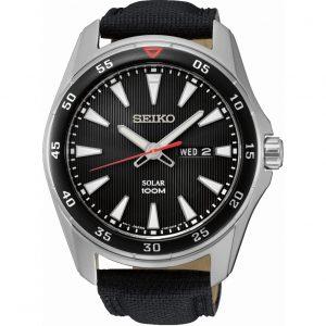 Đồng hồ nam Seiko Solar Black Dial Black Leather Black SNE393P2